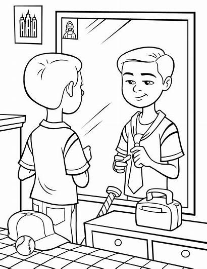 Tie Tying Mirror Boy Coloring Standing Library