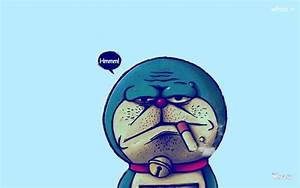 Bad Doraemon Face With Blue Background HD Wallpaper