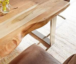 Baumtisch Live Edge : massivholztisch live edge akazie natur 140x90 platte 5cm gestell schmal baumtisch kaufen bei ~ Indierocktalk.com Haus und Dekorationen