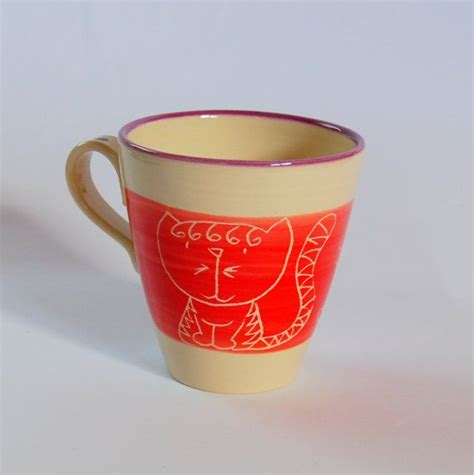 The interior of my handmade pottery cups was left to play with. Ceramic cat mug, Handmade cat mug, Ceramic cat cup, Cat mug, Red cat mug, Pottery handmade ...
