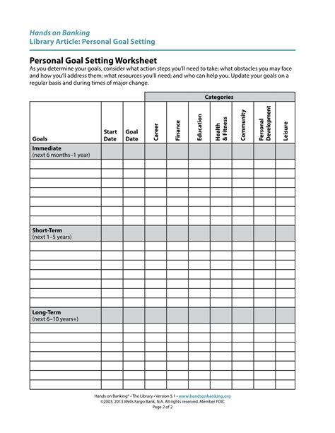 9 personal goal setting exles pdf exles