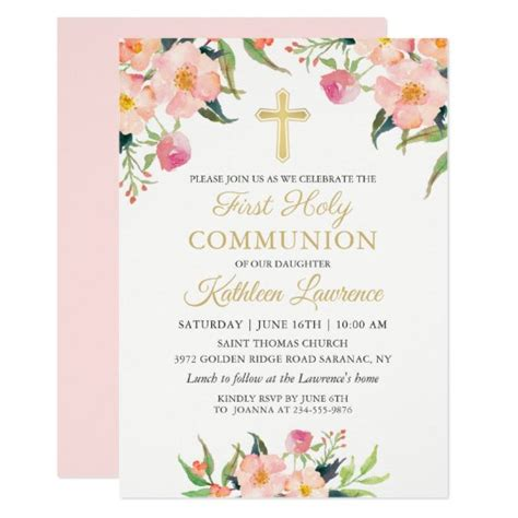 Pink Floral Girl First Holy Communion Invitation Zazzle ca