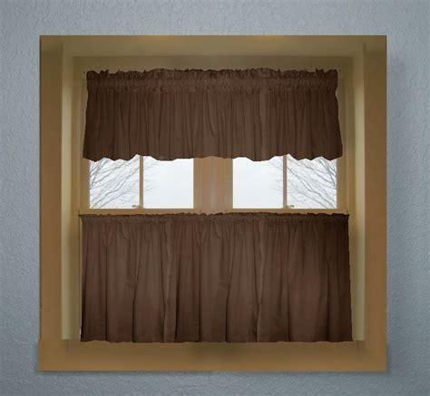 brown color tier kitchen curtain  panel set