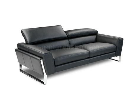 Black Top Grain Italian Leather Modern Sofa Woptional