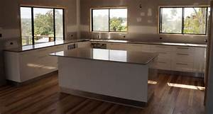 20mm Stone benchtop kitchen with white gloss melamine
