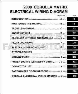 2008 Toyota Matrix Wiring Diagram Manual Original