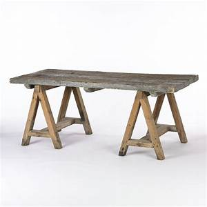 Rustic wood dining table with sawhorse legs Wood varies