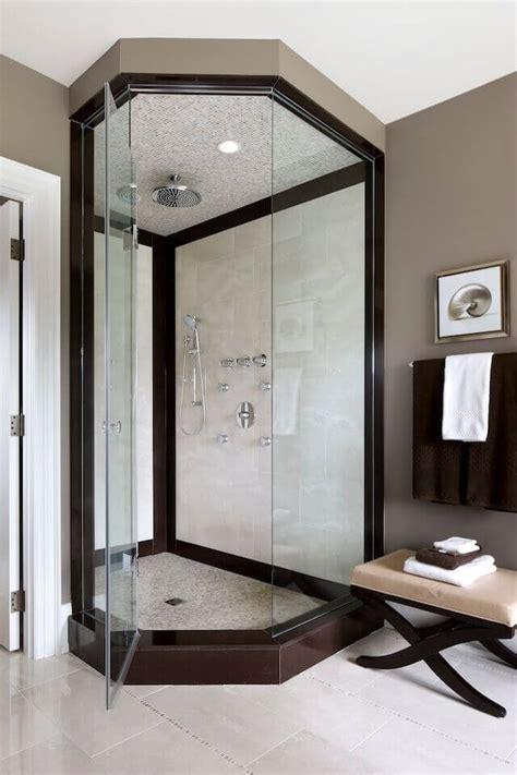 elegant bathrooms  corner showers designs