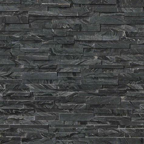 glacial black  rockmount stacked stone panels granite