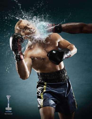water splashed grooming ads schick hydro razors