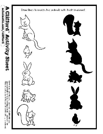 animal shadow match worksheets amp printables scholastic 634 | image