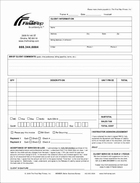 Personal Trainer Templates Free by 6 Receipt Template For Loan Sletemplatess