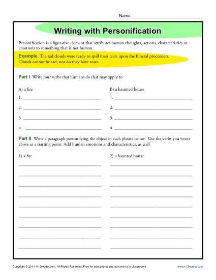 Writing With Personification  Figurative Language Worksheets
