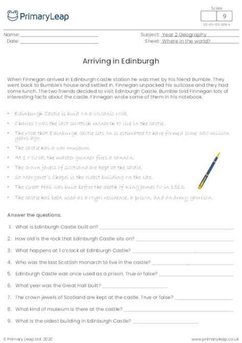 geography reading comprehension cardiff worksheet