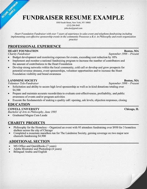 Charity Resume by Fundraiser Resume Resume Sles Across All Industries Fundraising