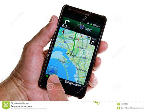 gps a phone gps road navigation by smartphone stock images image