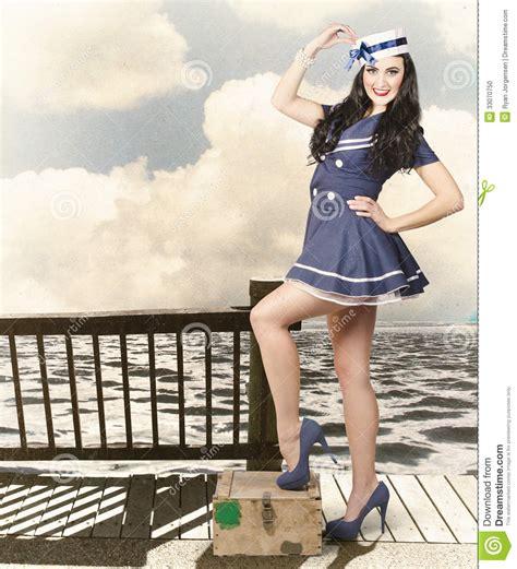 vintage sailor girl world  travel cruise stock photo