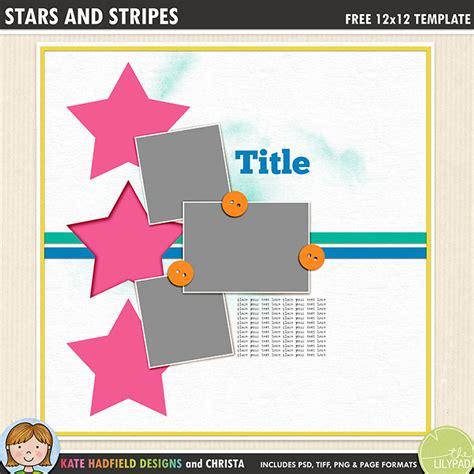digital scrapbook template stars  stripes kate