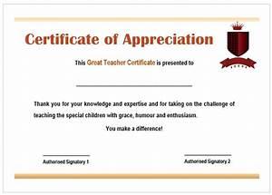 teacher appreciation certificate template With certificate of appreciation for teachers template