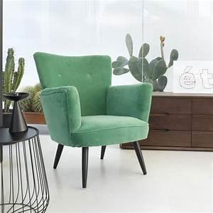 Canapé Velours Vert : fauteuils velours mobilier canape deco ~ Teatrodelosmanantiales.com Idées de Décoration