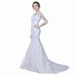 Elegant Three Quarter Sleeve Floor Length Sabrina Train ...