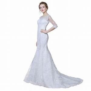 elegant three quarter sleeve floor length sabrina train With 3 quarter length wedding dresses
