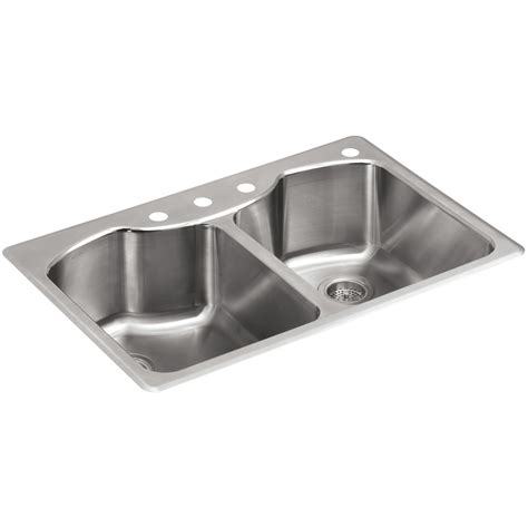 Shop Kohler Octave 22 In X 33 In Stainless Steel Double