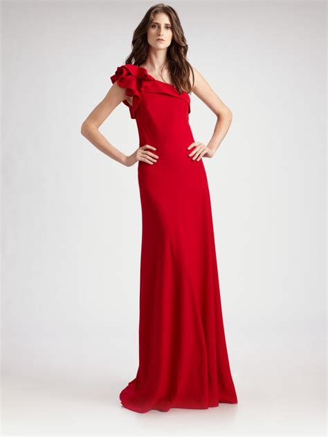 lyst carmen marc valvo  shoulder crepe gown  red