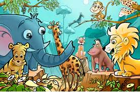 Illustration Wallpapers   Desktop Wallpapers  Jungle Drawing With Animals