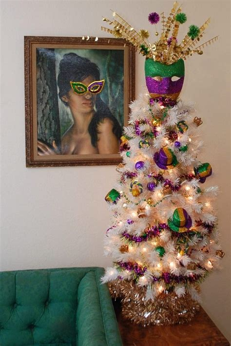 festive glittered diy mardi gras mask tree topper