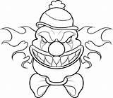 Coloring Clown Scary Halloween Cartoon Printable Drawing Creepy Adult Drawings Educative Educativeprintable sketch template
