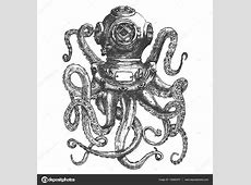 Vintage style diver helmet with octopus tentacles isolated