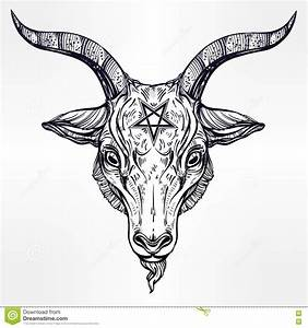 Pentagram With Demon Baphomet, Satanic Goat Head. Stock ...