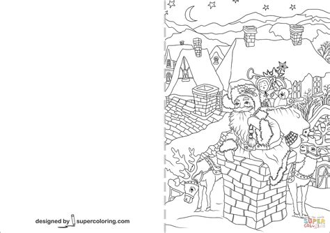 Coloring Cards by Santa Claus Is Going Through A Chimney Card