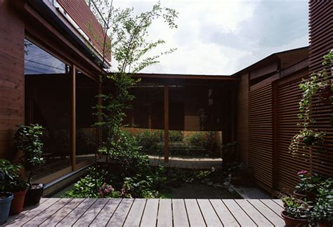 japanese wooden houses courtyard multi level decks