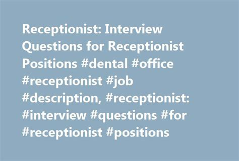 pin by maryke gouws on plan b receptionist jobs