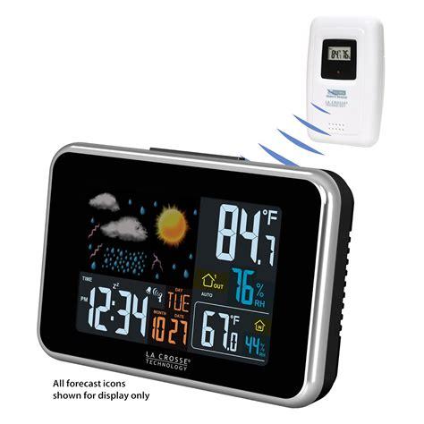 wireless color weather station la crosse technology color wireless atomic weather station