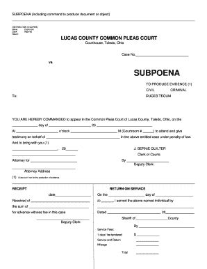 a sle subpeona form for ohio ohio subpoena fill online printable fillable blank
