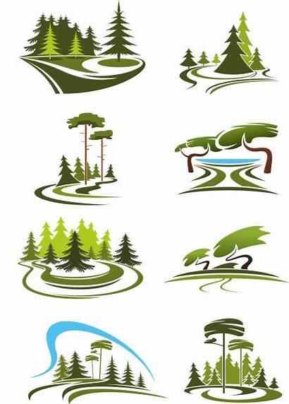 Landscape Forest Vector Garden Park Lake Icons