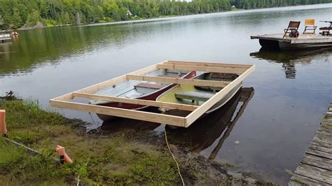 How To Build A Boat Plug by How To Build A Pontoon Boat Out Of 2 Metal Row Boats Part