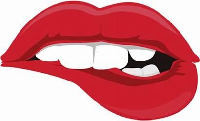 Bite Clipart Tongue Lip Biting Transparent Drawn