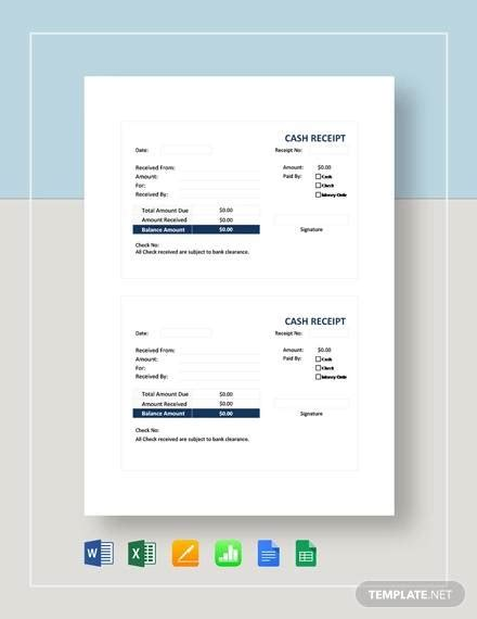 free 30 receipt templates in docs sheets ms excel ms word numbers