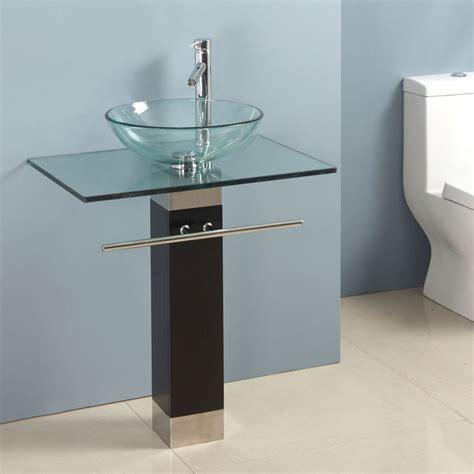 Bathroom Bowl Vanities by Bathroom Vanity Clear Tempered Glass Vessel Sink 23 Inches