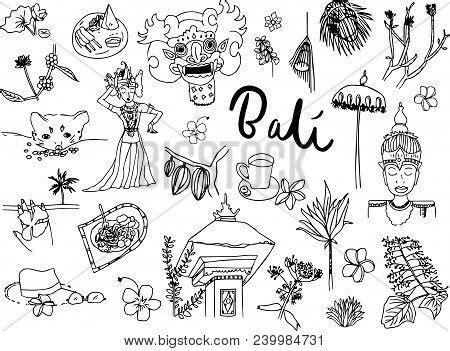 bali doodle set vector illustration doodles