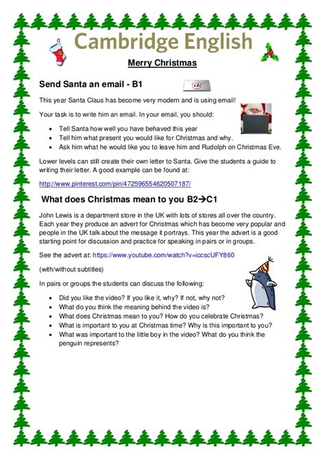 cambridge english christmas activities for teachers