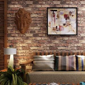 Red Brick Stone 3D Washable Exfoliator Vinyl Wallpaper ...