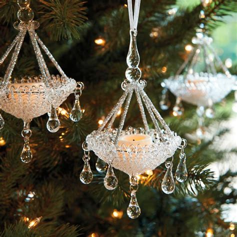Chandelier Ornament by Glass Chandelier Ornaments Set Of Four Frontgate
