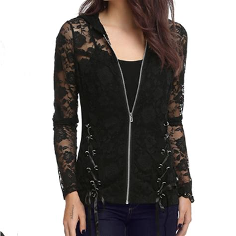 hooded lace up jacket lace lace up hooded sleeve jacket blazer trench