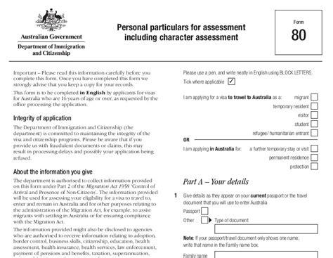 partner visa application forms the australian partner