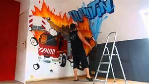 graff deco chambre garcon pompier youtube With deco murale chambre garcon
